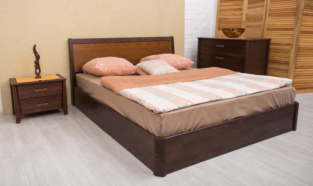 Кровать Сити 1,8м бук с подъемной рамой интарсия