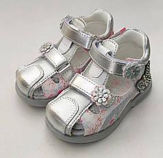 Детские босоножки сандалии сандали для девочек кожаные серебристый tom.m 24р 15см