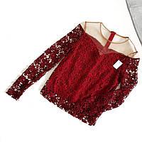 Блуза бордовая кружевная с телесной сеткой сверху