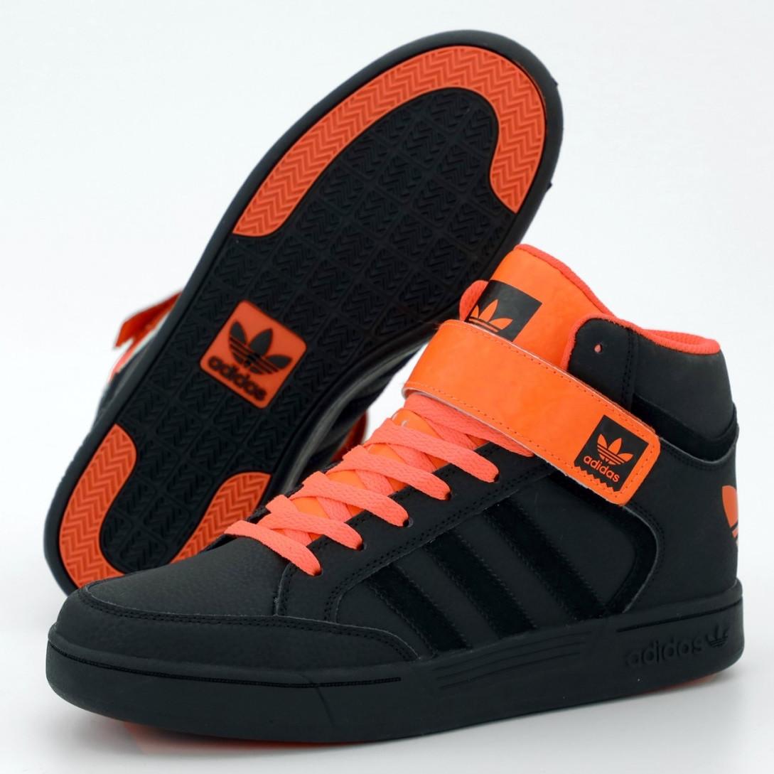 Кроссовки мужские Adidas Varial Mid черные - оранжевые (Top replic)