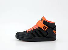 Кроссовки мужские Adidas Varial Mid черные - оранжевые (Top replic), фото 3