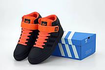 Кроссовки мужские Adidas Varial Mid черные - оранжевые (Top replic), фото 2