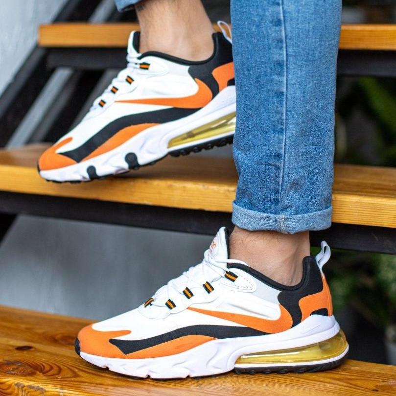 Кроссовки мужские Nike Air Max 270 белые - оранжевые (Top replic)