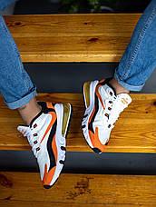 Кроссовки мужские Nike Air Max 270 белые - оранжевые (Top replic), фото 2