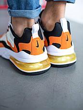Кроссовки мужские Nike Air Max 270 белые - оранжевые (Top replic), фото 3