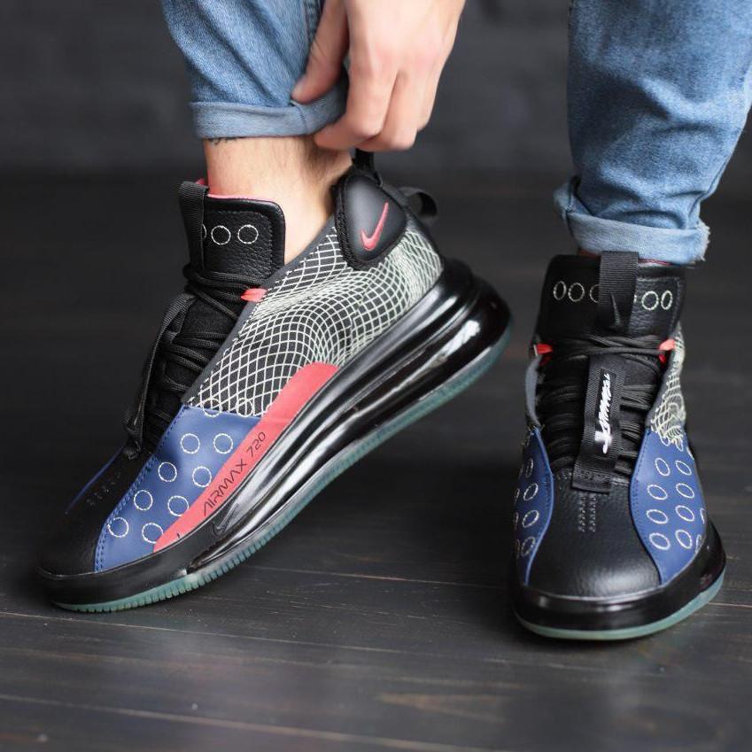 Кроссовки мужские Nike Air Max 720 черные - красные (Top replic)