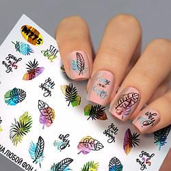 Наклейки на нігті написи , листя ( Слайдер дизайн для нігтів ) Fashion Nails М275