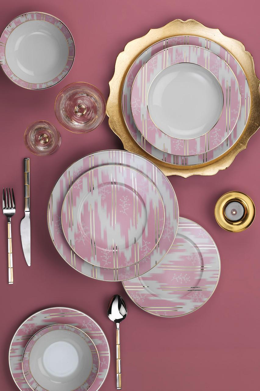 Столовый сервиз Kutahya Leonberg розовый на 6 персон 24 предмета