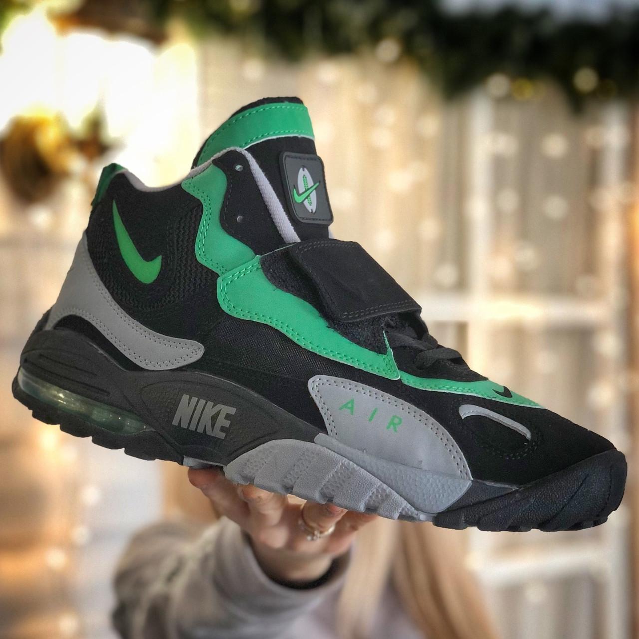 Кроссовки мужские Nike Air Max Speed Turf University серые - зеленые (Top replic)