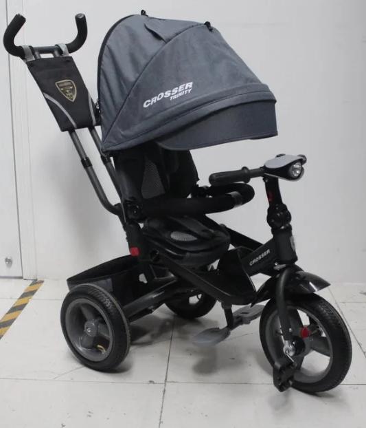 Трехколесный велосипед-коляска Crosser T-400 TRINITY AIR серый