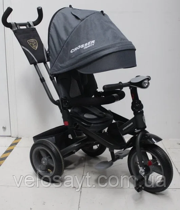 Трехколесный велосипед-коляска Crosser T-400 TRINITY AIR серый, фото 2