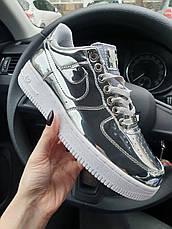 Кроссовки женские Nike Air Force 1 Low Metallic Silver (Сереброе) (Top replic), фото 2