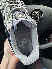 Кроссовки женские Nike Air Force 1 Low Metallic Silver (Сереброе) (Top replic), фото 3