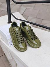 Кроссовки женские Alexander McQueen Moss Лак ( Premium ) хаки-оливковый (Top replic), фото 2