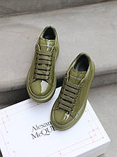 Кроссовки женские Alexander McQueen Moss Лак ( Premium ) хаки-оливковый (Top replic), фото 3