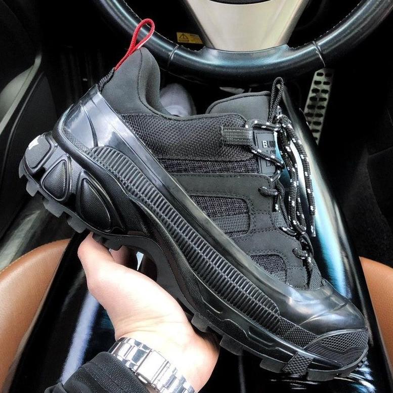 Кроссовки женские Burberry London Arthur Sneakers черные (Top replic)