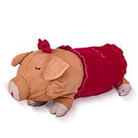 Мягкая игрушка подушка ХРЮША 50х15 см, розовая