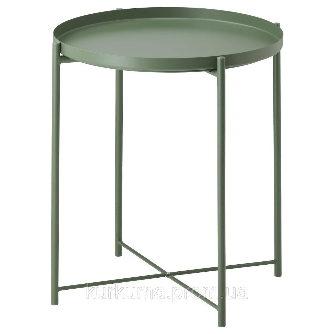 IKEA GLADOM Журнальный столик, темно-зеленый, 45x53 см (103.306.70)