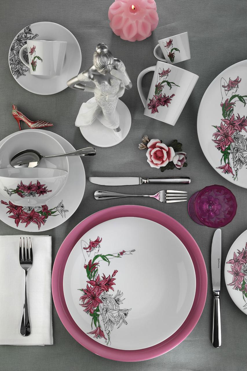 Столовый сервиз Kutahya Miledi розовый на 6 персон 24 предмета