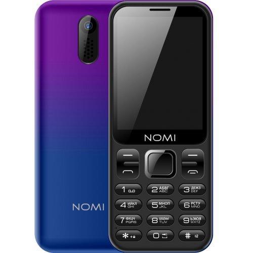 Кнопочный телефон номи с хорошей батареей, фонариком и большим дисплеем на 2 sim Nomi i284 Violet-Blue
