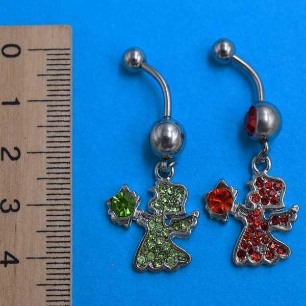 Сережка для пірсингу, Ангел, червоні і зелені стрази, медична сталь