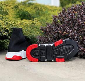 Кроссовки женские Balenciaga Speed Trainer SNEAKERS (черные-красные) (Top replic), фото 3