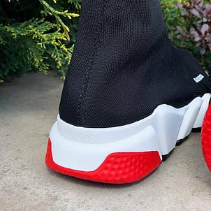 Кроссовки женские Balenciaga Speed Trainer SNEAKERS (черные-красные) (Top replic), фото 2