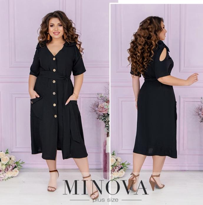 Стильное повседневное платье черный батал Размеры: 48.50.52.54