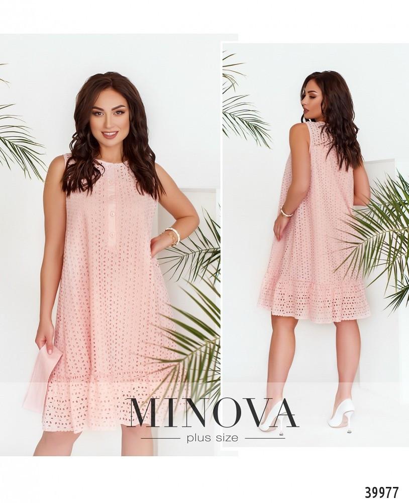 Лёгкое повседневное платье батал с поясом, Minova Размеры: 48-50,52-54