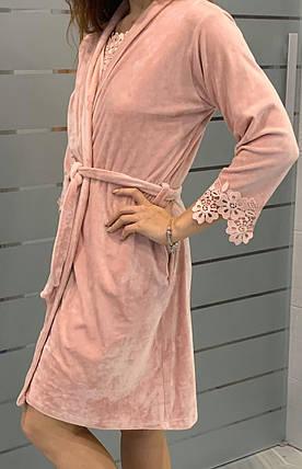 Короткий шикарный велюровый халат на запах, фото 2