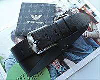 Мужской кожаный ремень для джинсов Armani черный