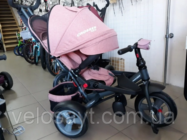 Трехколесный велосипед-коляска Crosser T-400 NEO ECO AIR персиковый