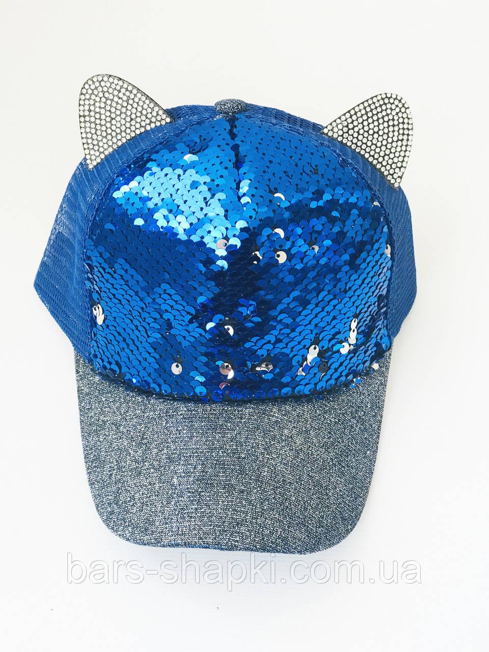 Детская кепочка с паетками и ушками р 52-54 (синие паетки)