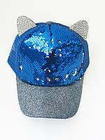 Детская кепочка с паетками и ушками р 52-54 (синие паетки), фото 1