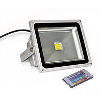 Прожектор светодиодный 30w ЛЕД RGB+пульт 6500K IP65 1Лед
