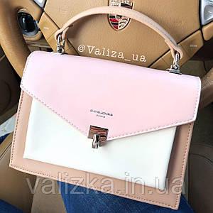 Нежная женская сумка кросс-боди от David Jones весенняя розовая с кофейным