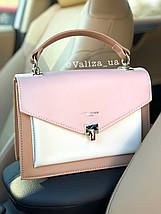 Нежная женская сумка кросс-боди от David Jones весенняя розовая с кофейным, фото 3