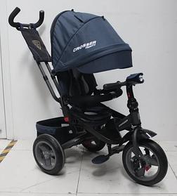 Триколісний велосипед-коляска Azimut Crosser T-400 TRINITY AIR ЕКО New синій