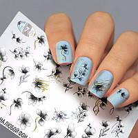 Слайдер-дизайн ЦВЕТЫ - водные наклейки для ногтей Fashion nails G76