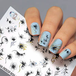 Слайдер-дизайн КВІТИ - водні наклейки для нігтів Fashion nails G76