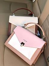 Нежная женская сумка кросс-боди от David Jones весенняя розовая с кофейным, фото 2