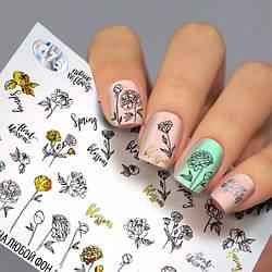 Слайдер-дизайн КВІТИ - водні наклейки для нігтів Fashion nails G75