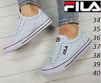 Кеды женские Fila. Летние низкие кеды на шнурках.