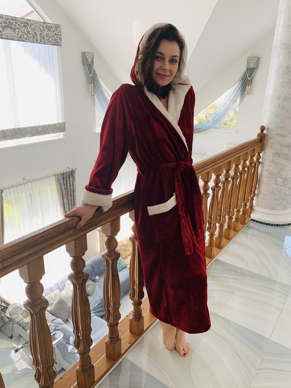 Махровий жіночий халат довгий Місіс