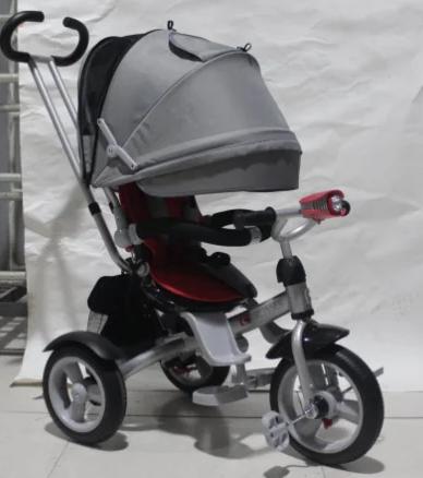 Детский трехколесный велосипед-коляска CROSSER T 503 AIR WHEEL серо-красный