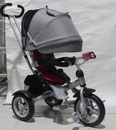 Детский трехколесный велосипед-коляска CROSSER T 503 AIR WHEEL серо-красный, фото 2