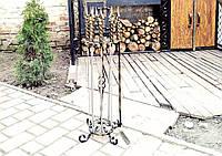 """Подарочный шашлычный набор на подставке: шампура с кованой ручкой """"Граф"""", с шашлычной вилкой и кочергой"""
