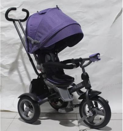 Дитячий триколісний велосипед-коляска CROSSER T 503 ECO AIR бузковий, фото 2