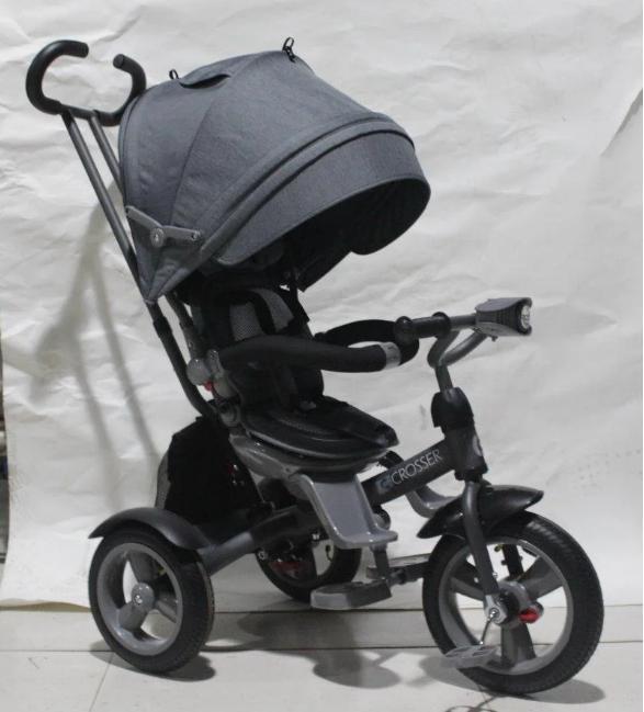 Дитячий триколісний велосипед-коляска CROSSER T 503 ECO AIR сірий