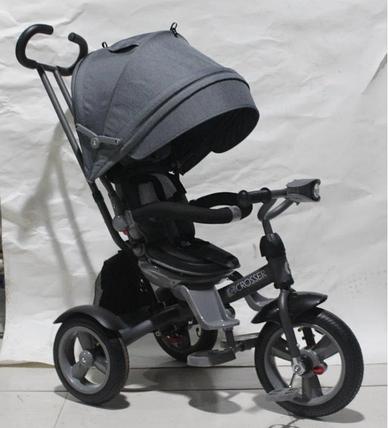 Дитячий триколісний велосипед-коляска CROSSER T 503 ECO AIR сірий, фото 2